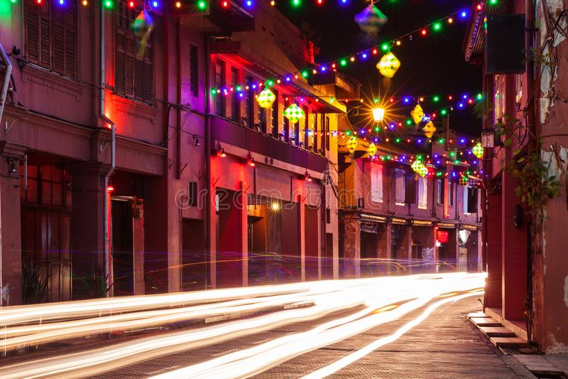 Освещение праздника на улице Малаккы, Малайзии стоковое изображение