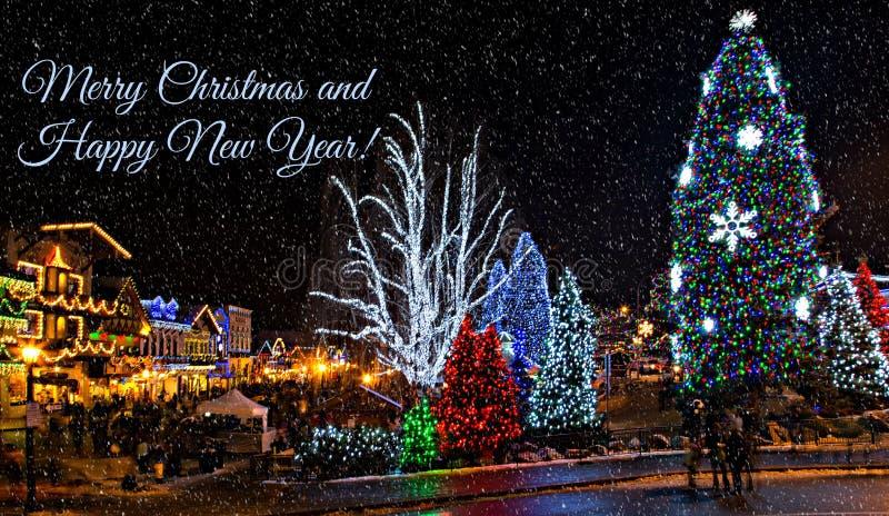 Освещение рождества в Leavenworth стоковое фото rf