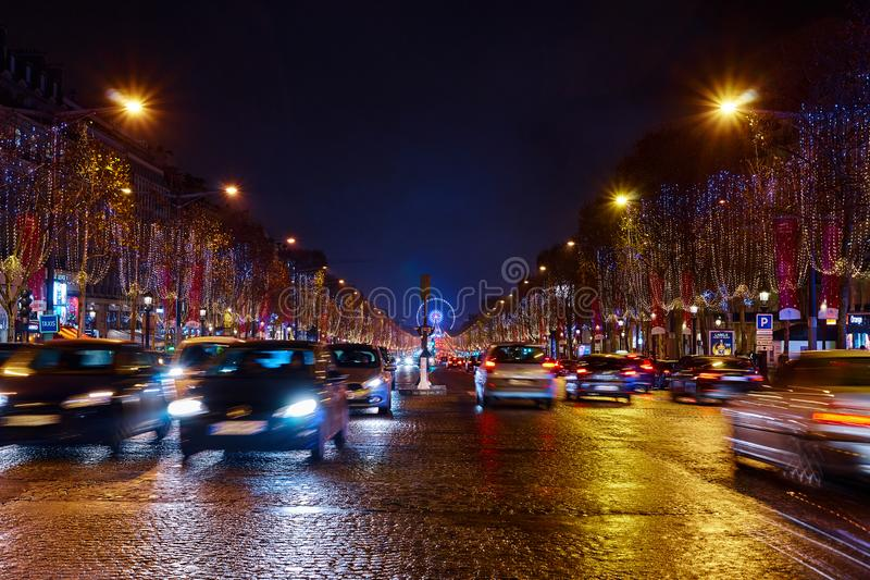 Освещения рождества Champs-Elysees движение стоковое изображение