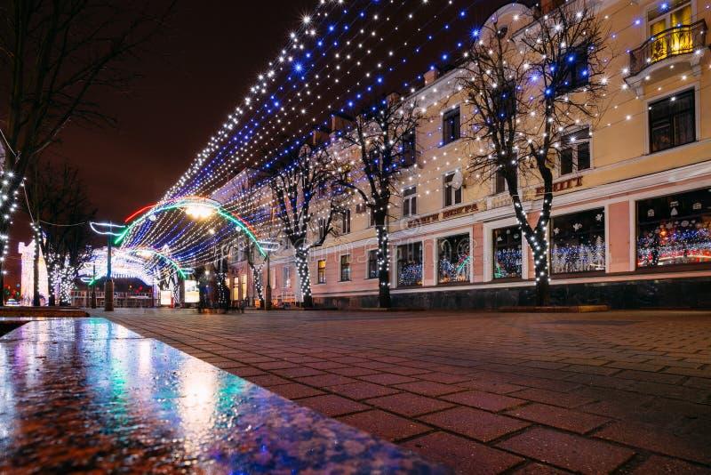 Освещения рождества города в центральном Бресте, Беларуси стоковые фото