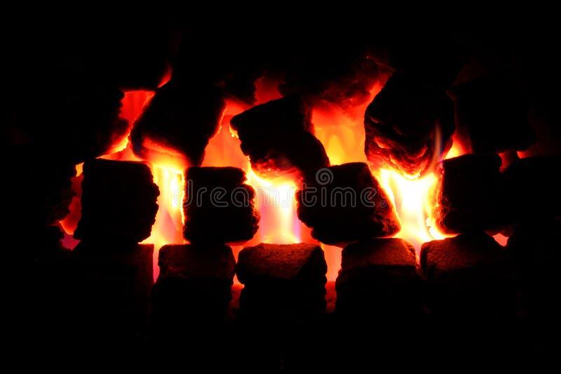 освещенный пожар угля Стоковое фото RF