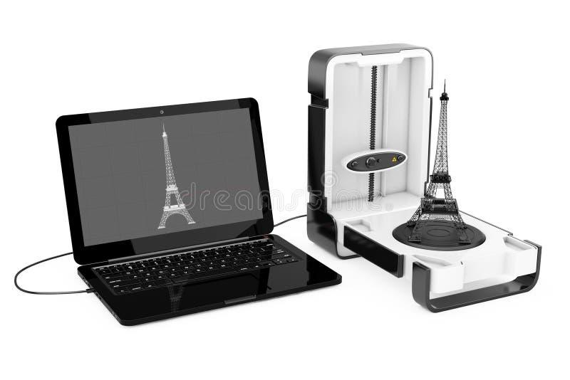 Освободите стоящий современный блок развертки дома 3D настольного компьютера подключенный к компьтер-книжке иллюстрация вектора