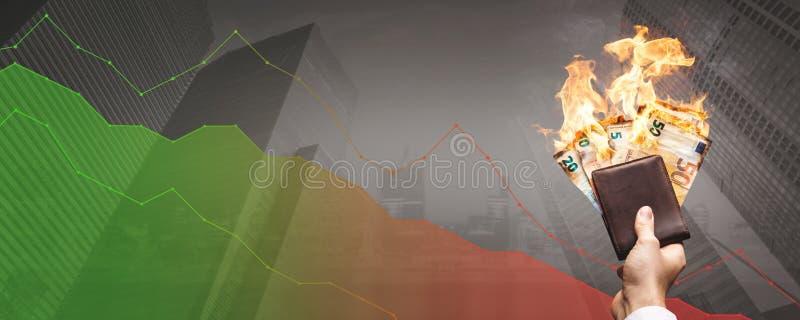 Освобождающ концепцию денег - горя счеты евро перед склоняя диаграммой стоковое изображение rf