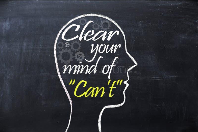 Освободите ваш разум фразы ` t чонсервной банкы внутри формы человеческой головы нарисованной на доске стоковое изображение