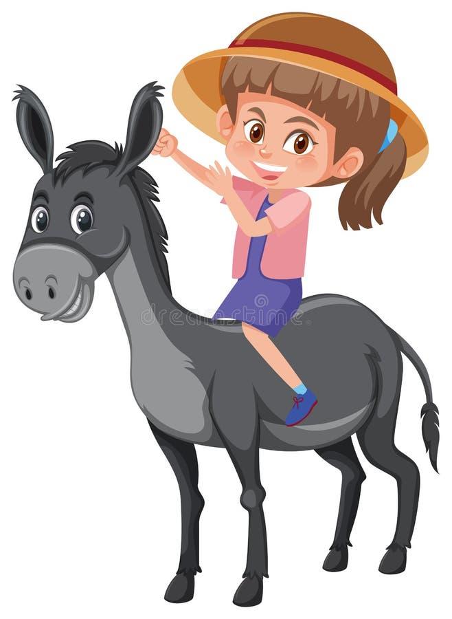 Осел катания девушки иллюстрация вектора