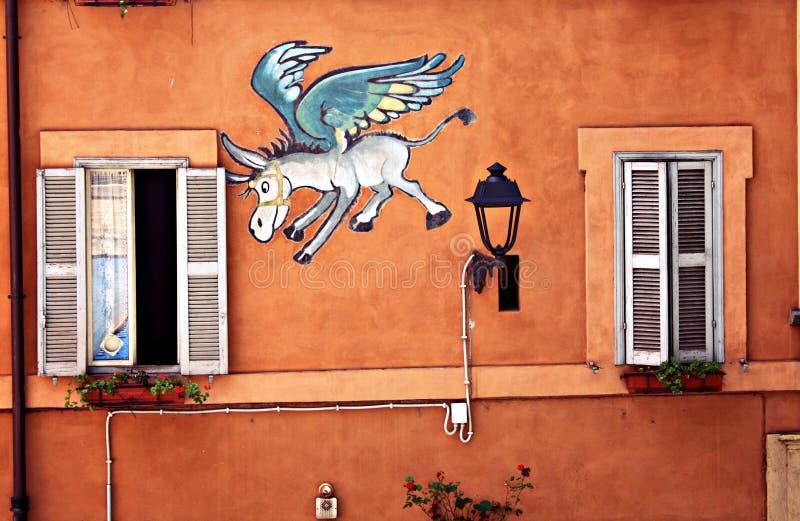 Осел летает в окно стоковые фотографии rf