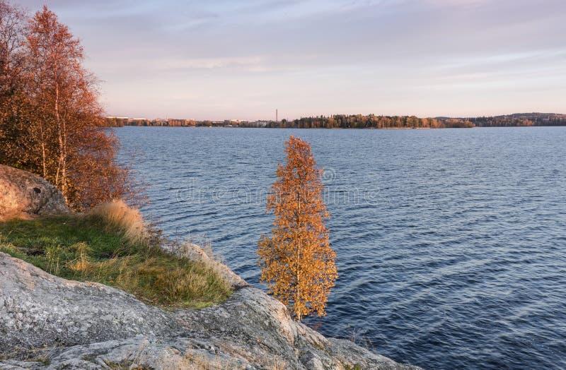 Осенний ландшафт озера стоковая фотография