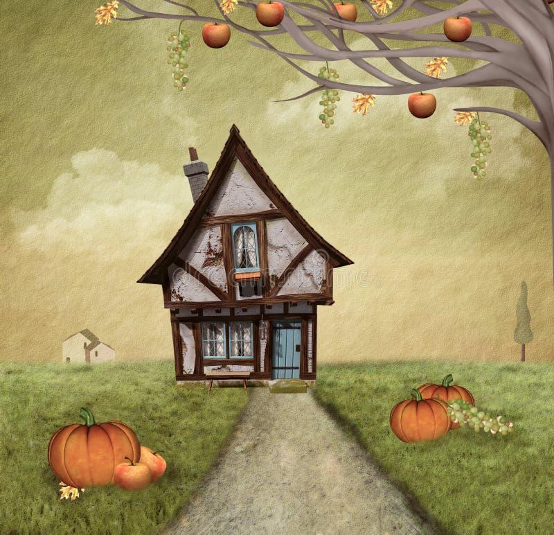 Осенний деревенский дом иллюстрация штока