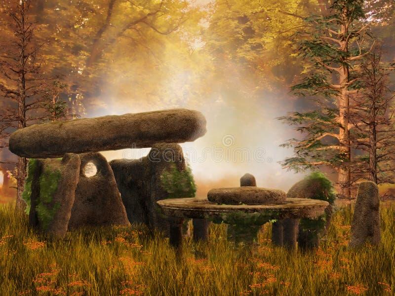 Осенний лес с руинами фантазии иллюстрация штока