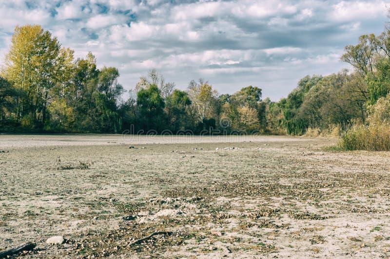 Осенний ландшафт с высушенный вверх по озеру стоковое изображение rf