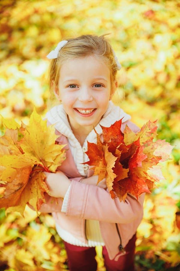 Осенний портрет милой кудряшки Маленькая забавная девушка, играющая с желтыми листьями в лесном ребенке, прогуливаясь по улице стоковая фотография