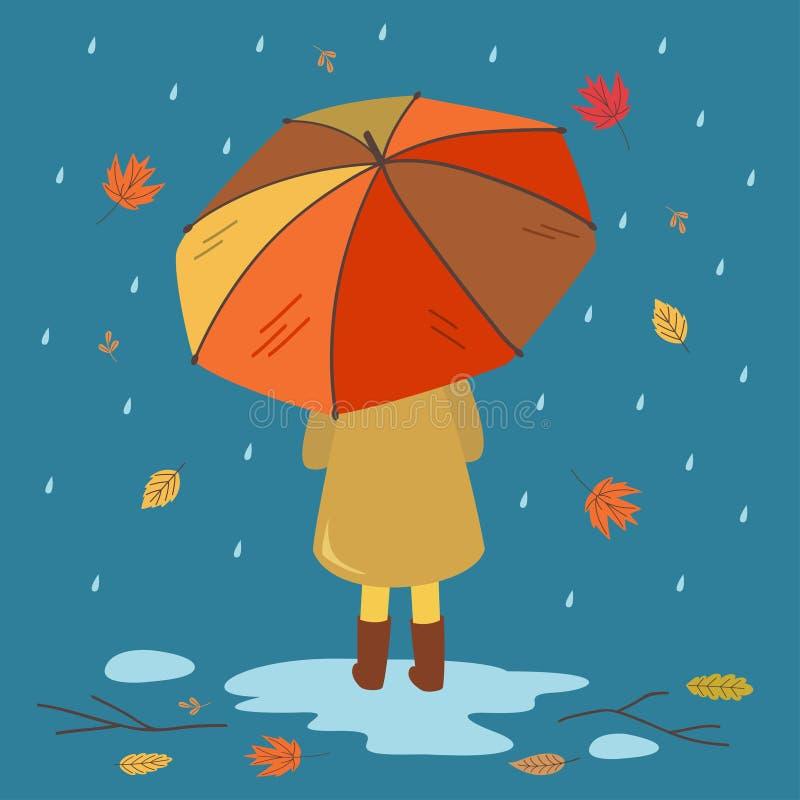 Открытка с девочкой и зонтиком