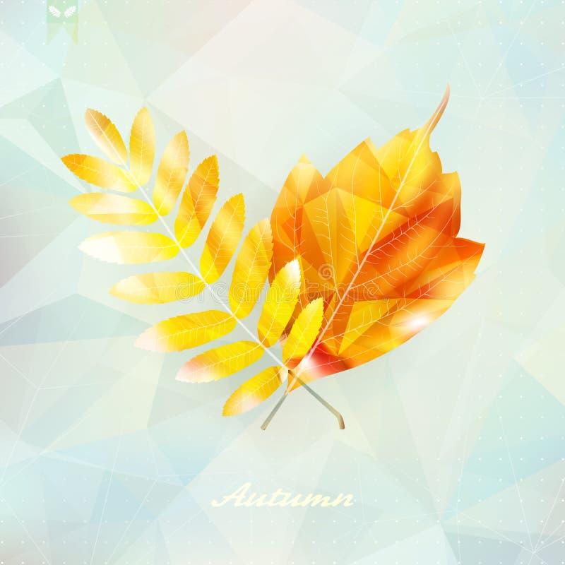 Осенняя предпосылка лист сделанная треугольников бесплатная иллюстрация