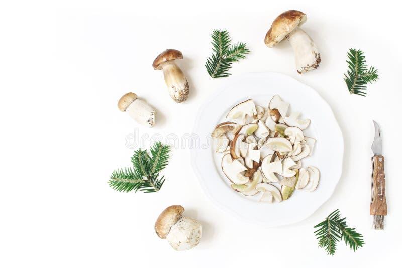 Осень ввела расположение в моду еды Состав всего и отрезанного porcino величает, подосиновик edulis на белой плите, ели стоковые фотографии rf