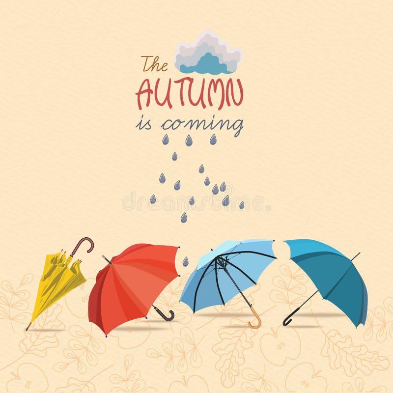 Осень вектора doodles карточка иллюстрация штока