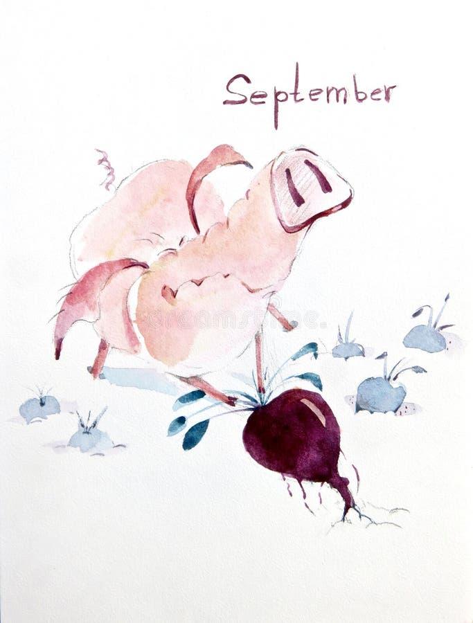 Осень время сбора для свиней иллюстрация штока