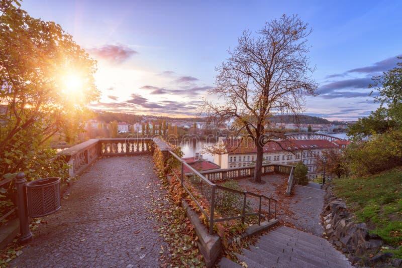Осень в Праге, золотой заход солнца на Vyshegrad Красивый парк в историческом районе, точка зрения, чехия, Европа стоковое фото