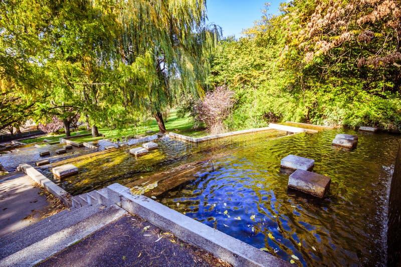 Осень в садах Oberlaa курорта в вене стоковые фотографии rf