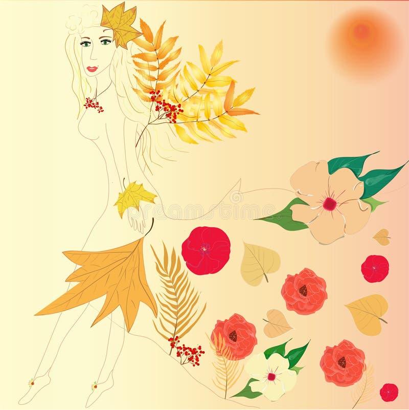 Осень женщины иллюстрация штока
