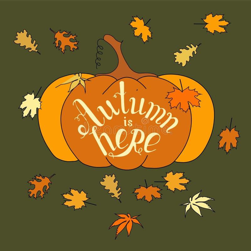 Осень здесь помечает буквами тыкву винтажного знамени оформления оранжевую, падение выходит вектор запаса бесплатная иллюстрация