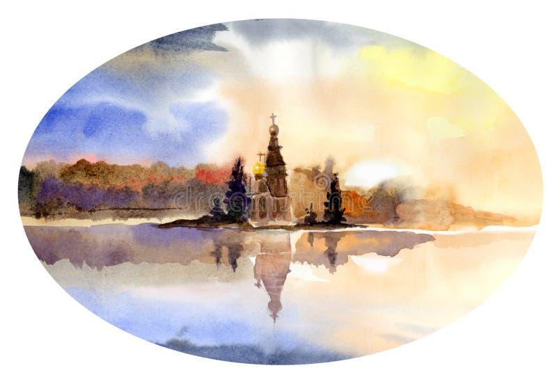 Осень золотой и красивый заход солнца на заднем плане иллюстрация вектора