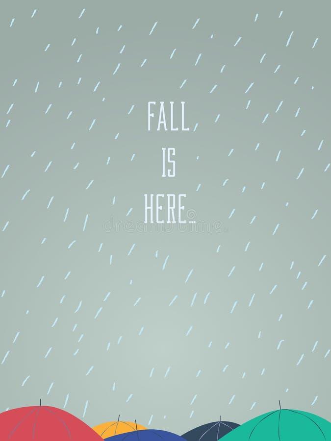 Осень иллюстрации вектора падения зонтика покрывает на оживленной улице Сезонный дизайн плаката бесплатная иллюстрация