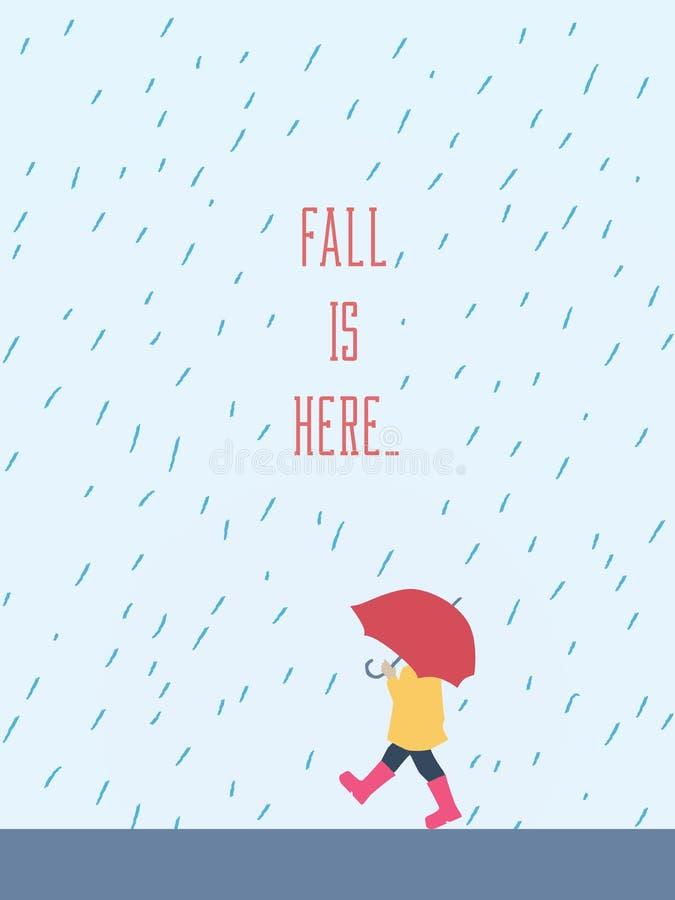 Осень иллюстрации вектора падения ребенка идя в дождь с зонтиком, плащом и резиновыми ботинками Сезонный плакат бесплатная иллюстрация