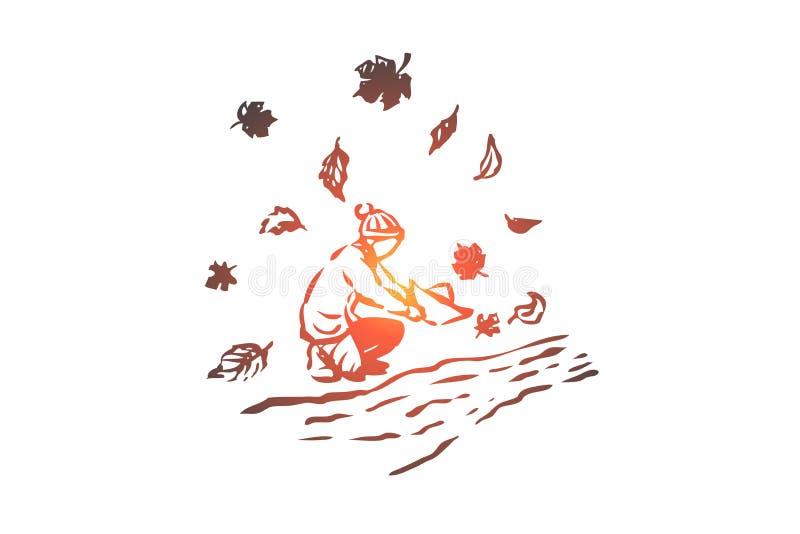 Осень, мальчик, река, сезон, концепция бумаги Вектор нарисованный рукой изолированный иллюстрация штока