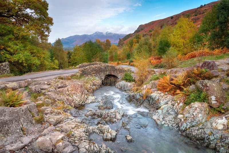 Осень на мосте Ashness стоковая фотография rf