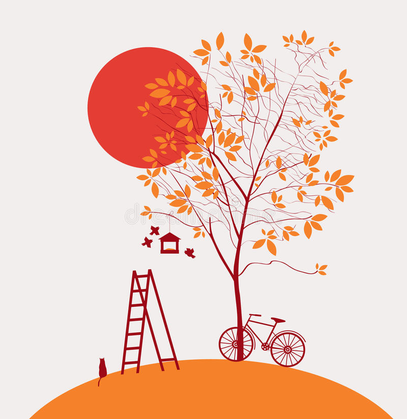 Осень приходила иллюстрация вектора