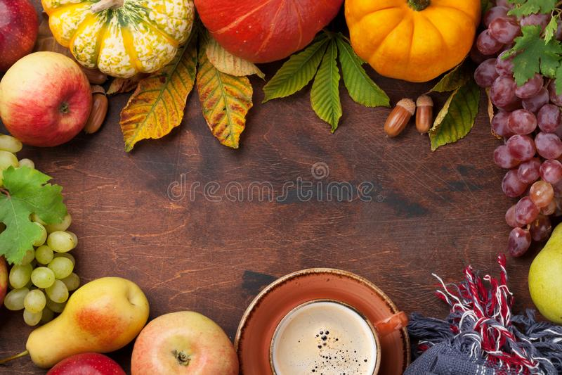 Осень с тыквами и плодоовощами стоковые изображения rf