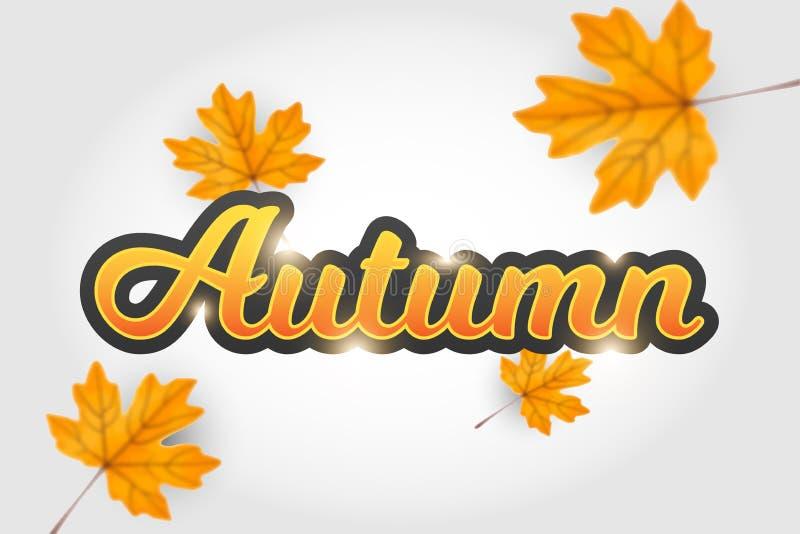 Осень типографская Лист падения o иллюстрация вектора