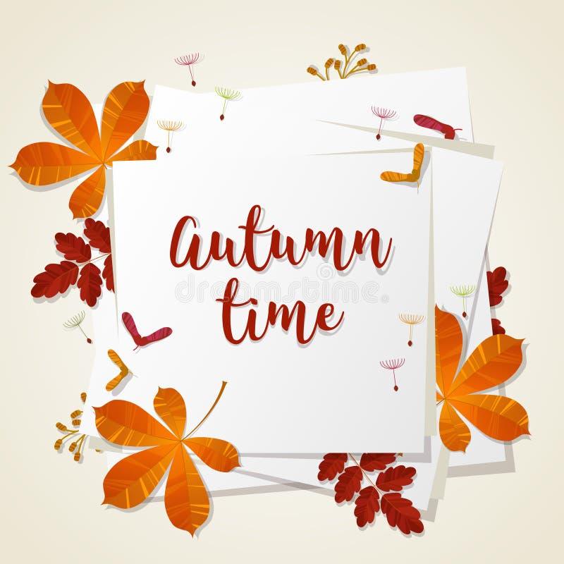 Осень типографская Лист падения вектор экрана иллюстрации 10 eps бесплатная иллюстрация