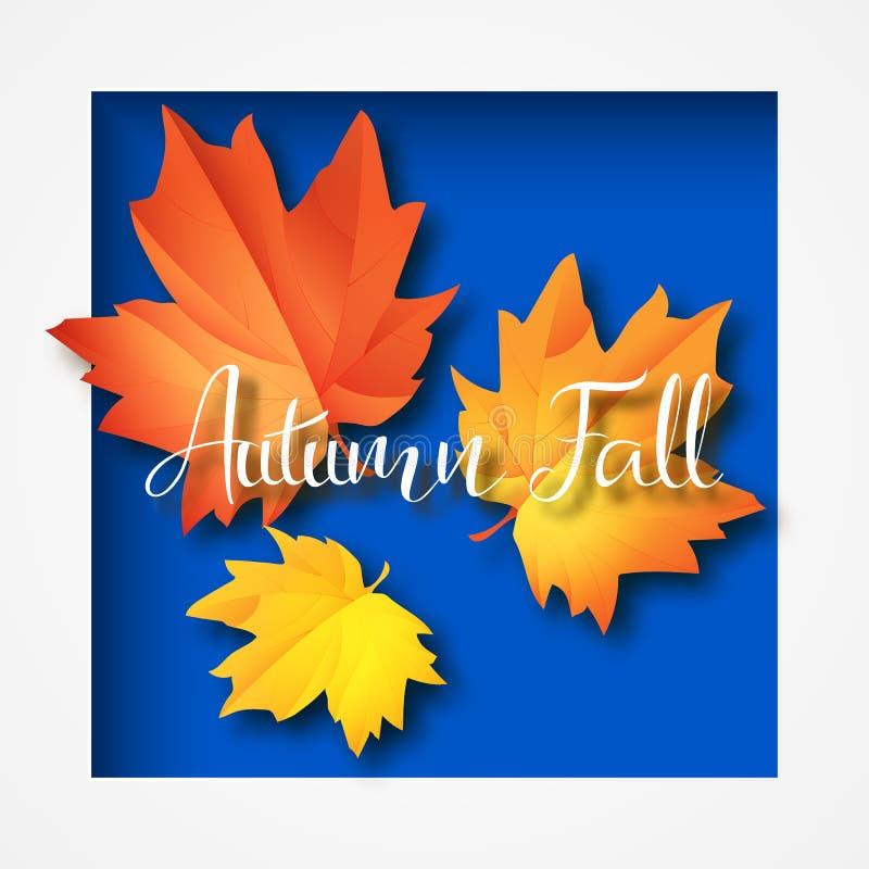 Осень типографская Лист падения вектор экрана иллюстрации 10 eps иллюстрация вектора
