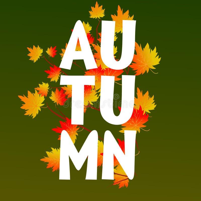 Осень типографская Лист падения вектор иллюстрация вектора