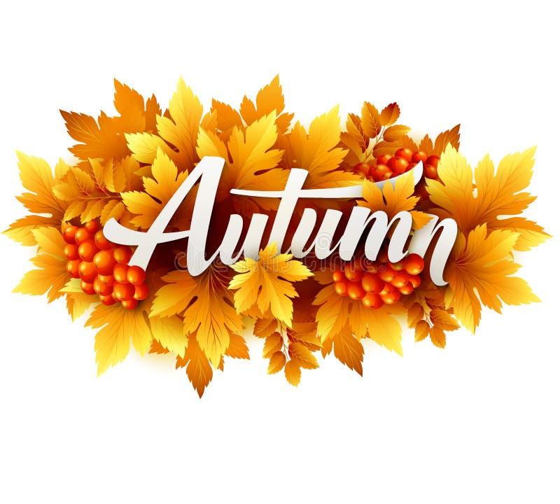 Осень типографская Лист падения также вектор иллюстрации притяжки corel иллюстрация вектора