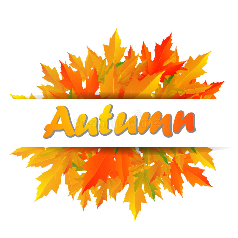 Осень типографская Лист падения иллюстрация вектора