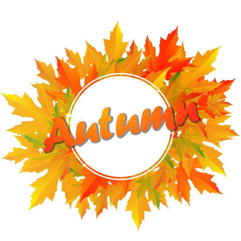 Осень типографская Лист падения иллюстрация штока