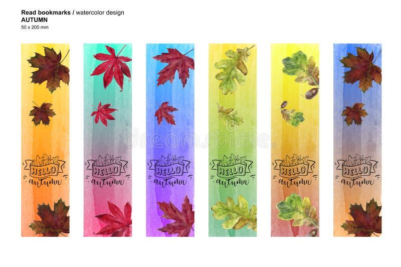 Осень установила printable закладки Иллюстрация текстуры лист акварели стоковое фото