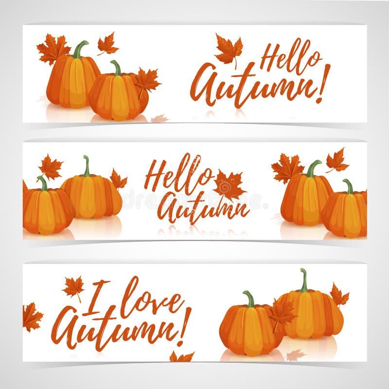 Осень шаблона дизайна знамени здравствуйте! Комплект знамен дизайнов горизонтальных с оформлением тыкв и листьев осени иллюстрация вектора