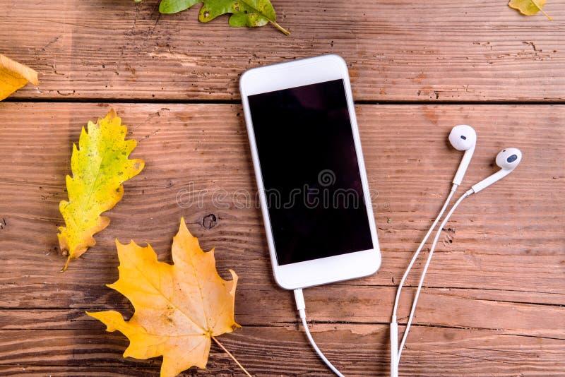 осень яблока миражирует листья состава сухие sacking ваза Красочные листья, умный телефон, наушники stu стоковые изображения