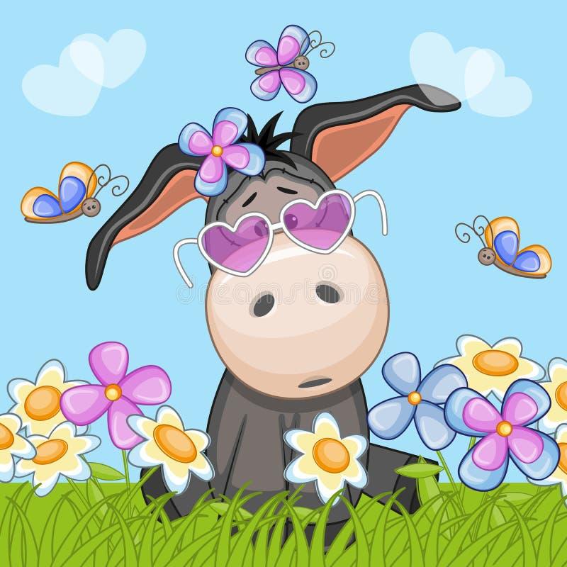Осел с цветками бесплатная иллюстрация