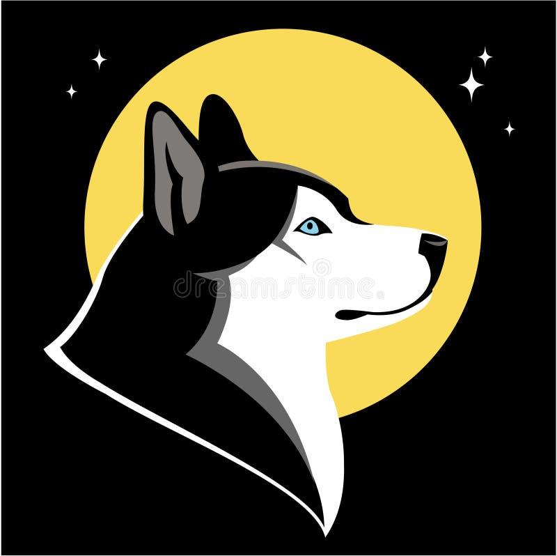 Осиплые собака и луна бесплатная иллюстрация