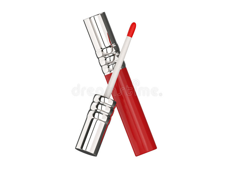 лоск губы пинка иллюстрации 3D красный иллюстрация штока