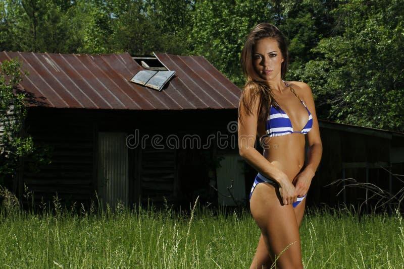 Ослаблять шикарного брюнета модельный Outdoors с сексуальной одеждой стоковые изображения rf