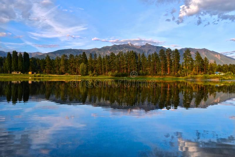 Ослабляя ландшафт Отражения сосен и гор в спокойном озере в утре стоковое изображение rf