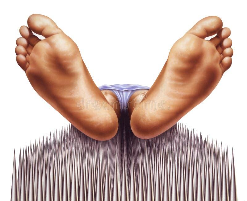 осмотренные ногти ног fakir кровати стоковые фото