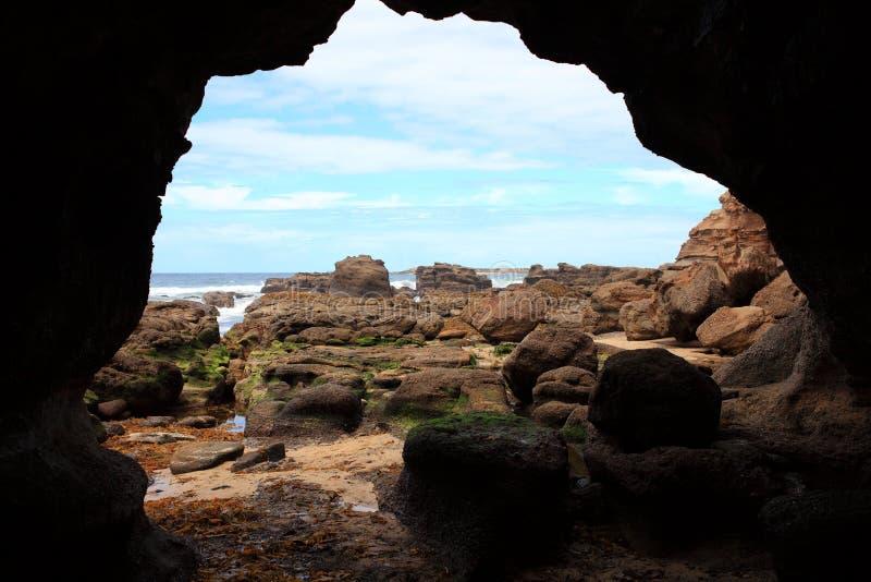 Ландшафт пляжа подземелиь стоковые изображения rf