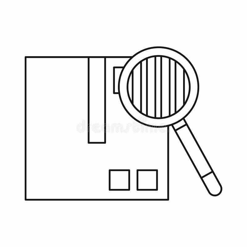Осмотр значка груза, стиля плана иллюстрация вектора