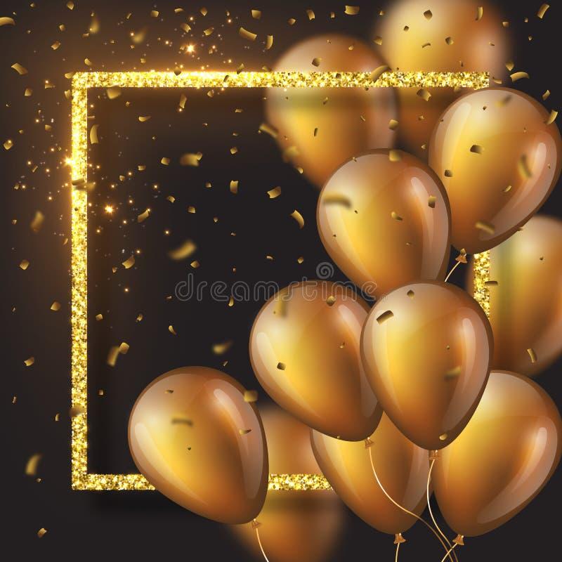 лоснистые золотые баллоны 3D с рамкой и confetti бесплатная иллюстрация